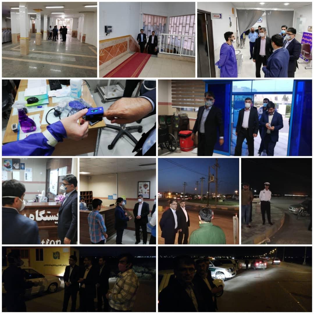 بازدید بیرانوند فرماندار شهرستان بندر ماهشهر و محمدی دادستان از محل نقاهتگاه، استقرار تیم های بهداشتی و کنترلی از مبادی ورودی شهرستان