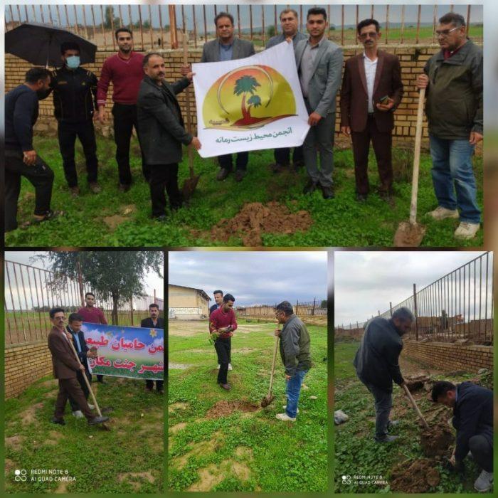 کاشت یکصد اصله نهال به نیت سلامتی و رفع بیماری کرونا در شهر جنت مکان + عکس