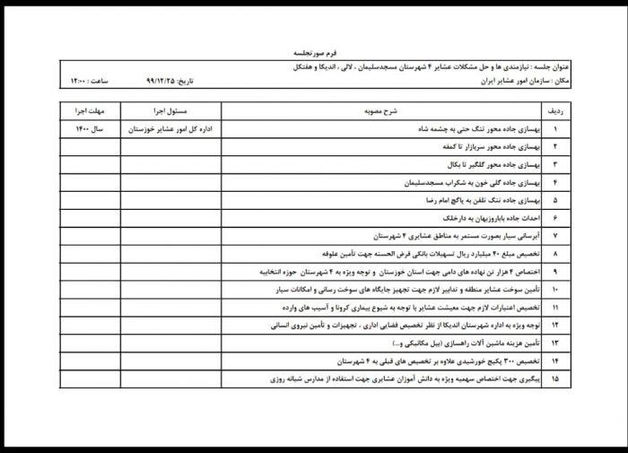 رفع مشکلات عشایر حوزه انتخابیه مسجدسلیمان ، لالی ، هفتکل و اندیکا در سال ۱۴۰۰ در دستور کار اجرایی شدن قرار گرفت