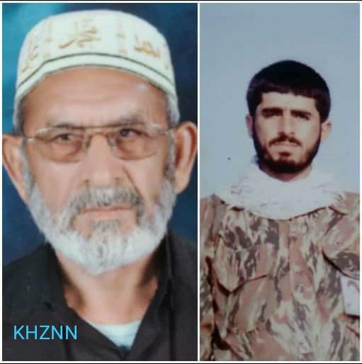 کربلایی نبی اله نوذری پدر شهید قدرت اله نوذری از شهدای شهرستان اندیکا در جنگ تحمیلی به فرزند شهیدش پیوست