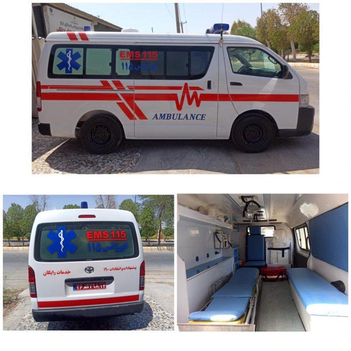 تحویل یک دستگاه آمبولانس بازسازی شده به فوریتهای پزشکی شهرستان هندیجان