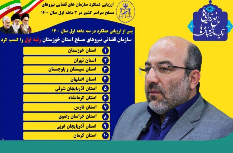 موفقیت و کسب رتبه اول ارزیابی عملکرد سازمان قضایی نیروهای مسلح خوزستان در سطح کشور